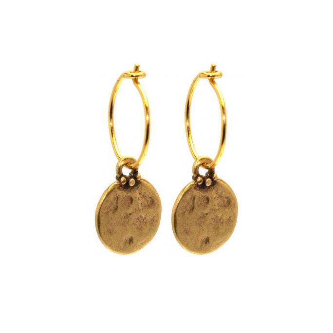 Hultquist Coin Hoop Earrings Gold 04382-G