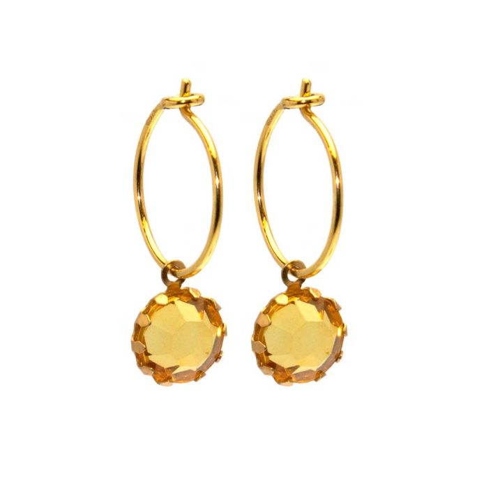 Hultquist Hoop Earrings with Yellow Glass Drops