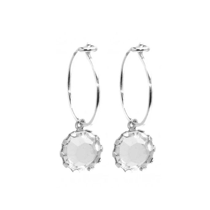 Hultquist Hoop Earrings with Clear Glass Drops