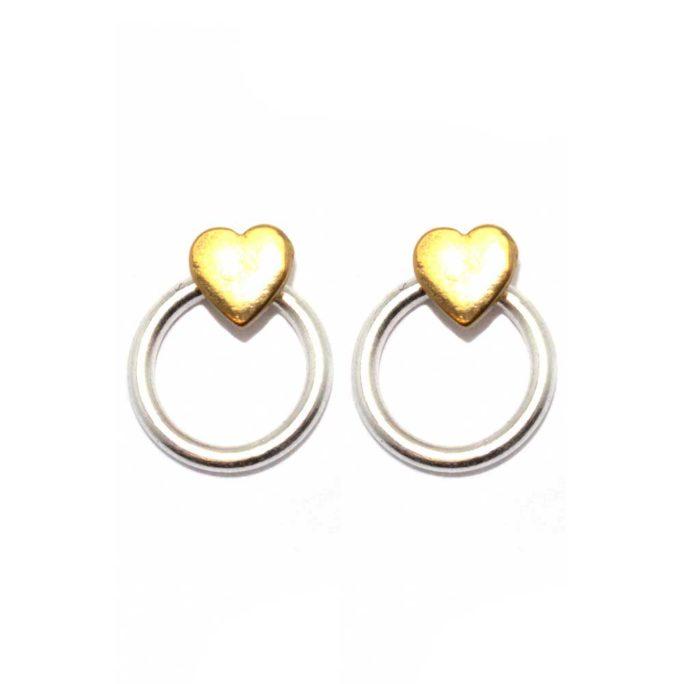 Hultquist Heart Earrings BiColour 1546BI
