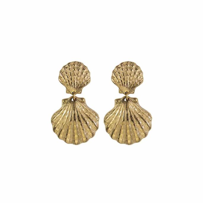 Hultquist Double Shell Earrings Gold 62012-G