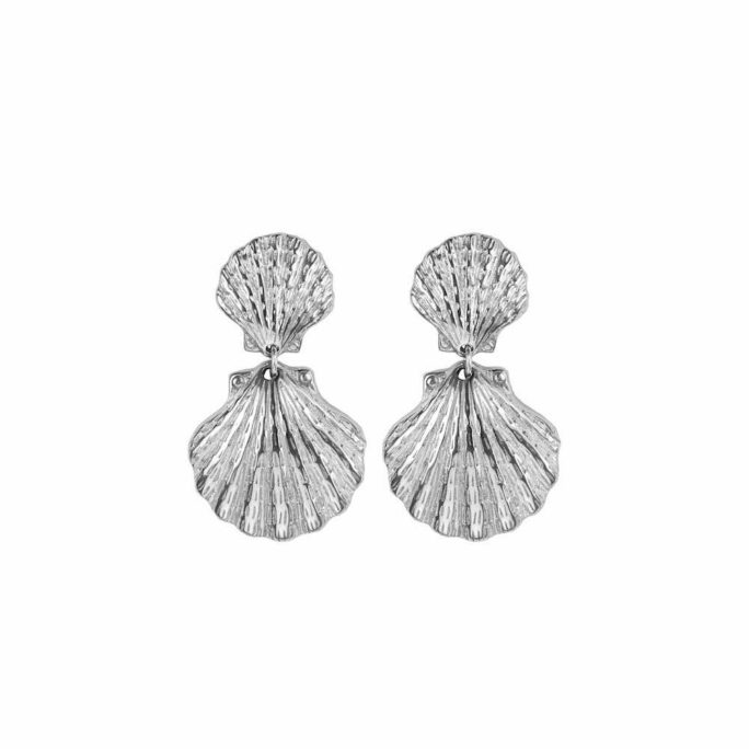Hultquist Double Shell Earrings Silver 62012-S