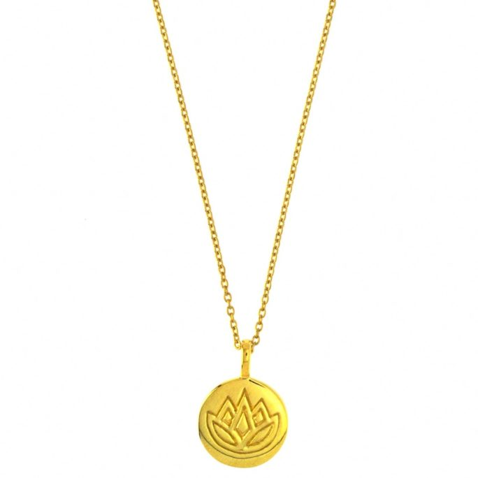 Hultquist Lotus Disc Necklace Gold S03010G