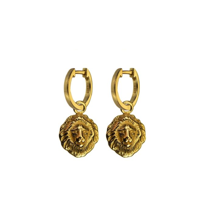 Hultquist Lions Head Earrings Gold S05006G