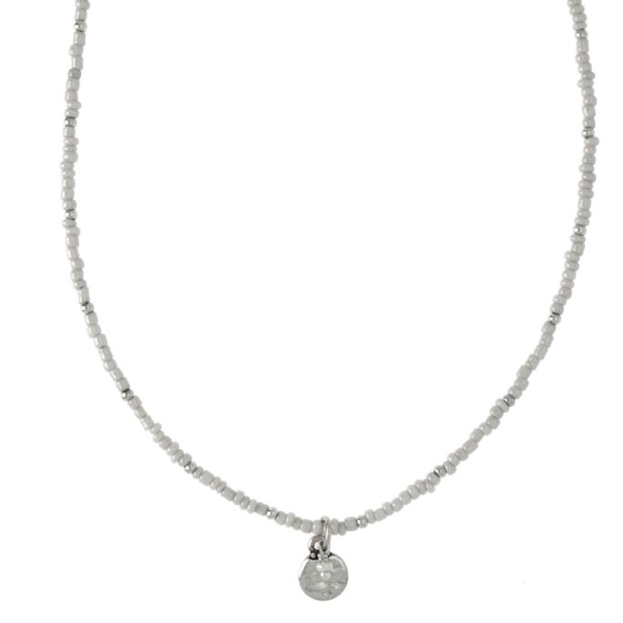 Hultquist Coin & White Bead Necklace Silver 04375-S