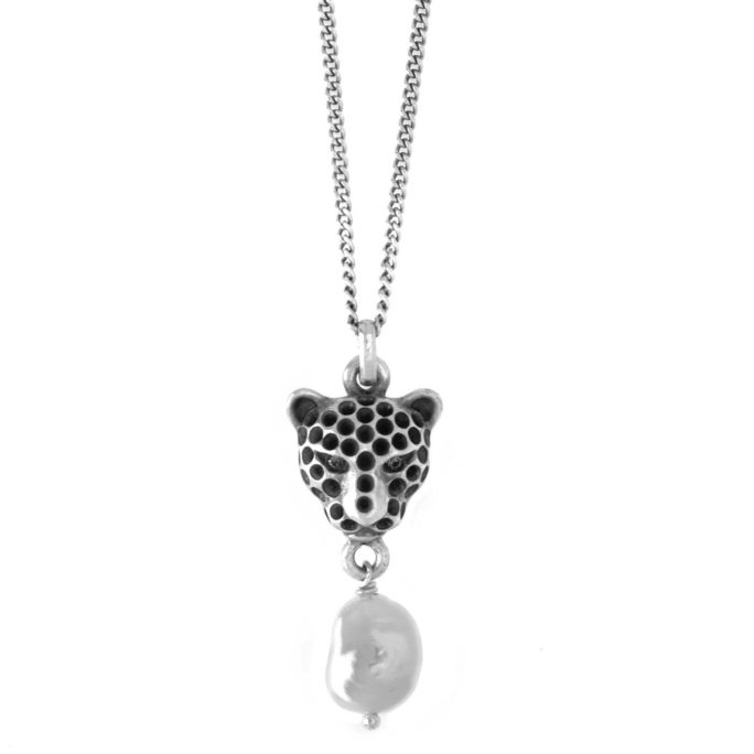 Hultquist Leopard and Pearl Necklace Silver 04393S