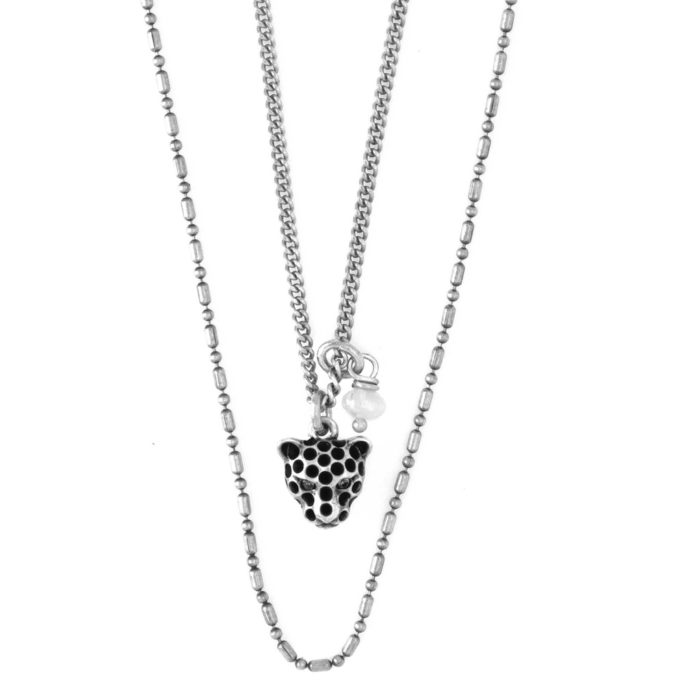 Hultquist Leopard and Pearl Layered Necklace Silver 04396S