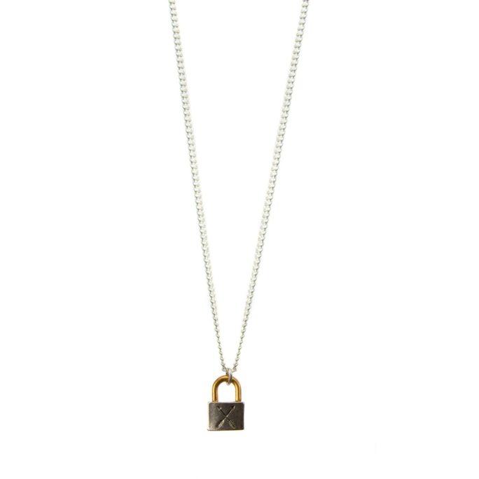 Hultquist Mini Padlock Necklace BiColour 04443BI