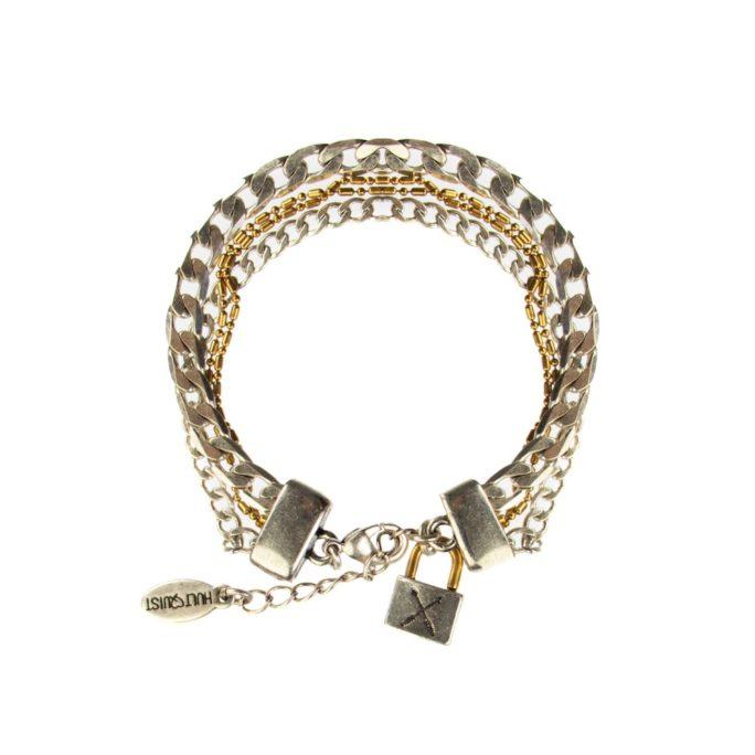 Hultquist Padlock Multi Chain Bracelet BiColour 04446BI