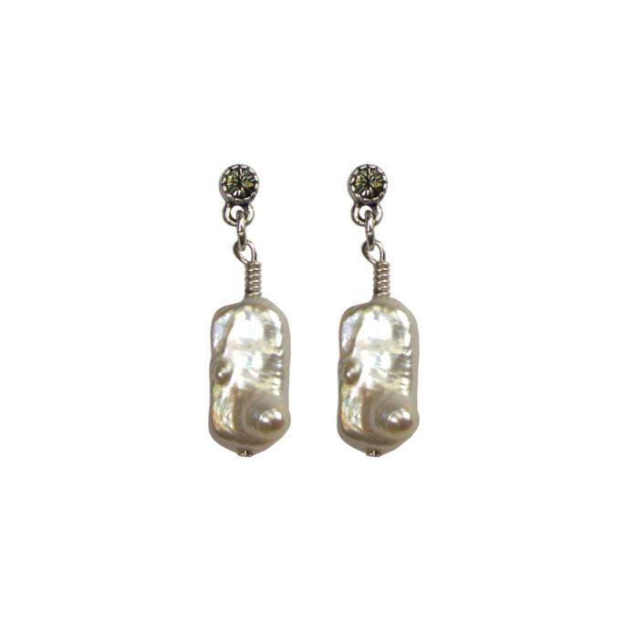 Hultquist Pearl Drop Earrings Silver 04603S