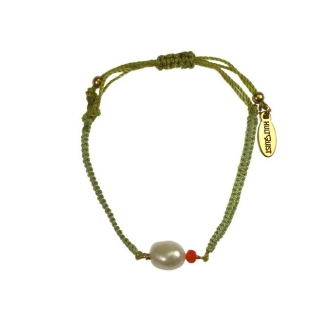 Hultquist Lime Cord Macrame Bracelet Gold 04619G