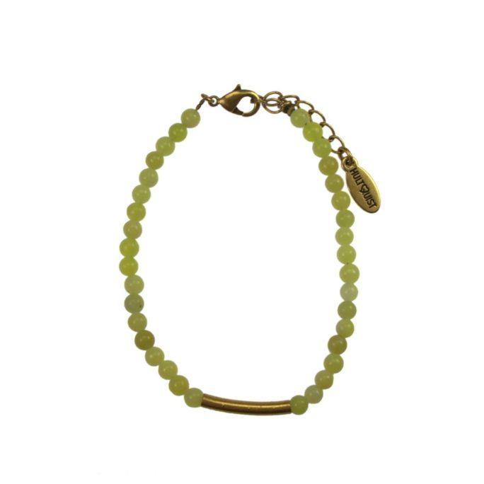 Hultquist Lime Stone Bead Bracelet Gold 04645G
