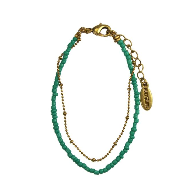 Hultquist Turquoise Bead Bracelet Gold 04587G