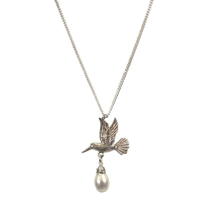 Hultquist Hummingbird & Pearl Necklace Silver 04635S