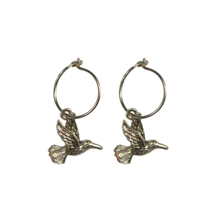 Hultquist Hummingbird Hoop Earrings Silver 04642S