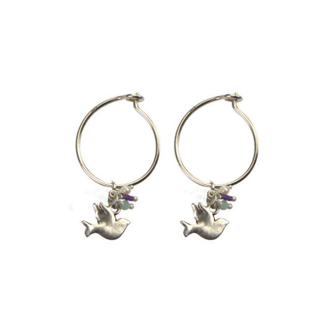 Hultquist Little Bird Hoop Earrings Silver 04573-S