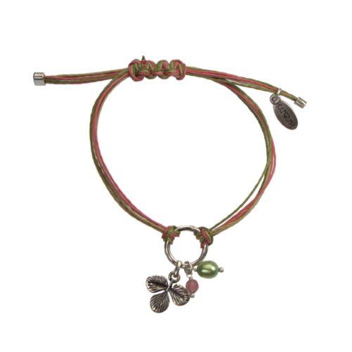 Hultquist Clover Macrame' Bracelet Silver 04581-S