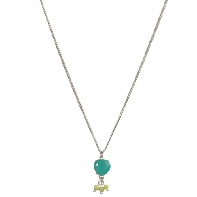 Hultquist Cyan Glass Necklace Silver 04610-S