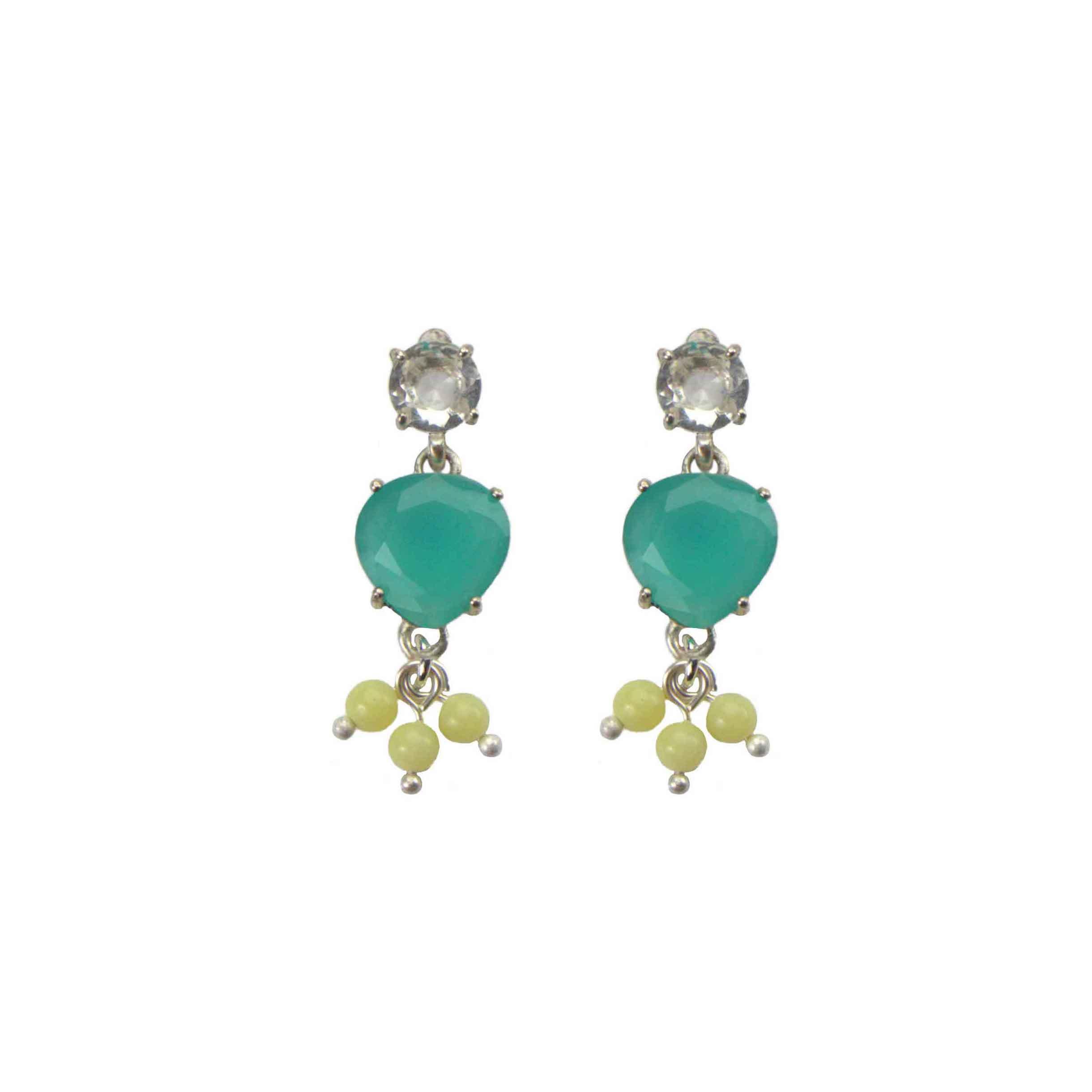 Hultquist Cyan Glass Stud Earrings Silver 04611-S