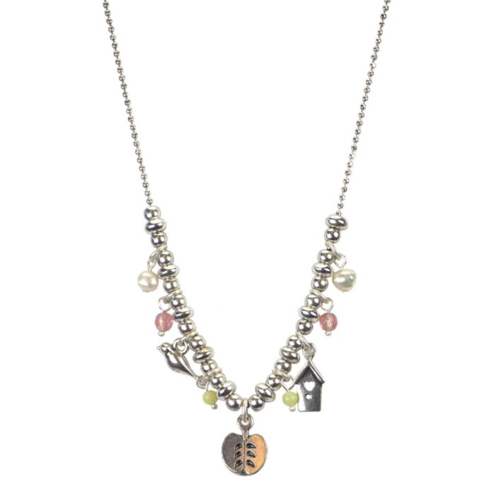 Hultquist Apple Multi Charm Necklace Silver 04625-S