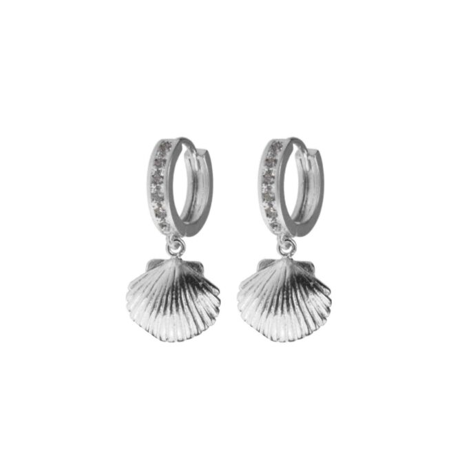 Hultquist Crystal Shell Earrings Silver 61034-S