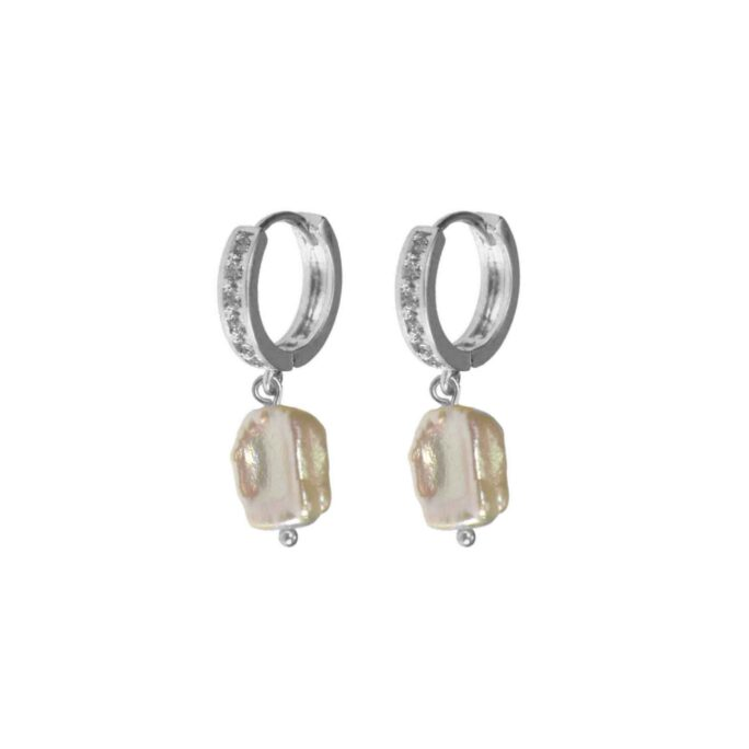 Hultquist Crystal Freshwater Pearl Earrings Silver 61036-S