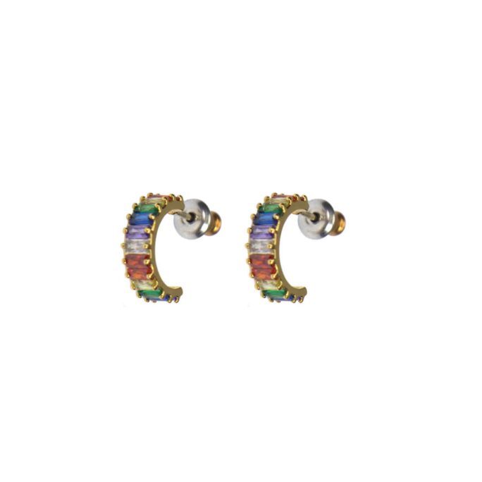 Hultquist Multi Coloured Crystal Hoop Earrings Gold 61037-G