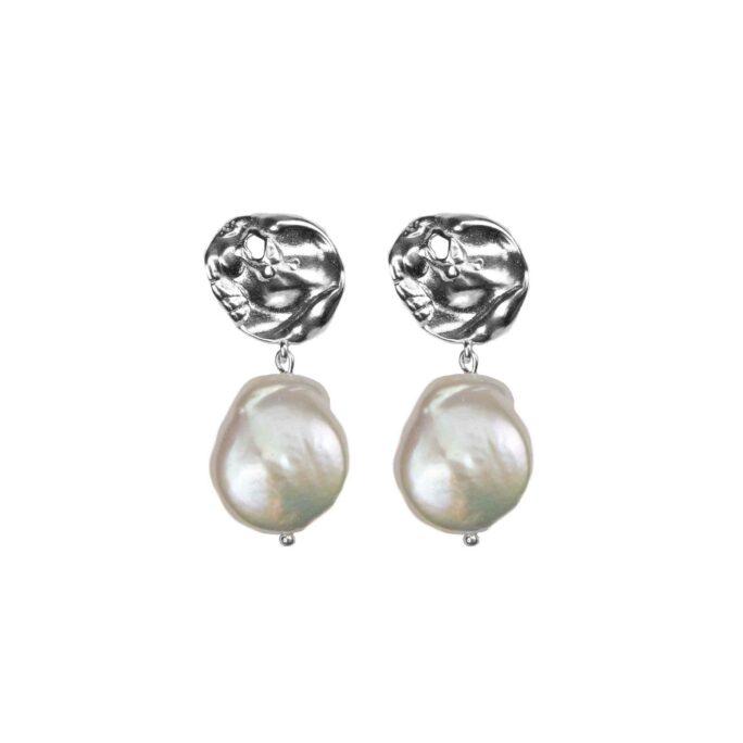 Hultquist Organic Pearl Love Earrings Silver 61044-S