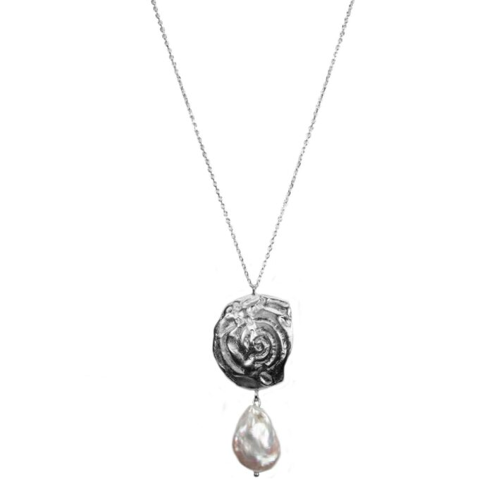 Hultquist Organic Pearl Love Necklace Silver 61045-S