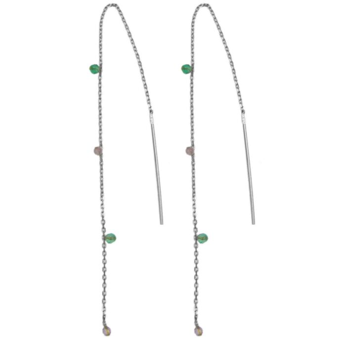 Hultquist Arame Chain Earrings Silver 61046S