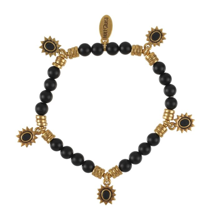 Hultquist Black Stone Bracelet Gold 0538G-B