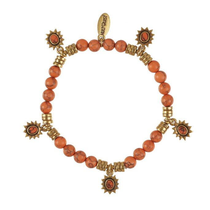 Hultquist Coral Stone Bracelet Gold 0538G-CO