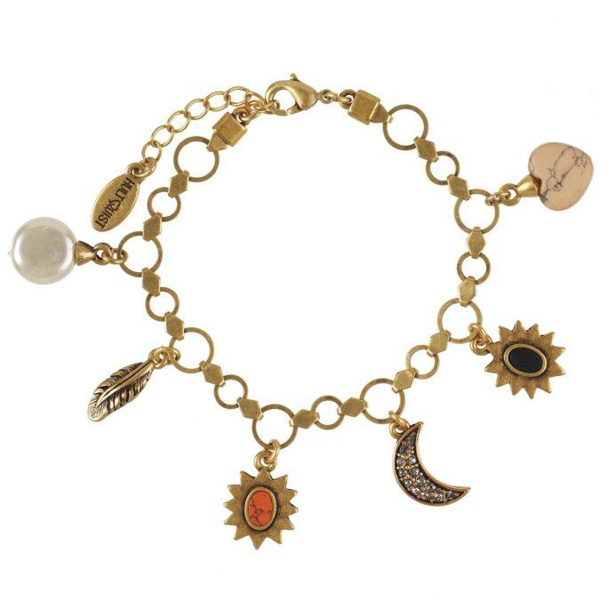 Hultquist Coral & Stone Charm Bracelet Gold 0547G-MU