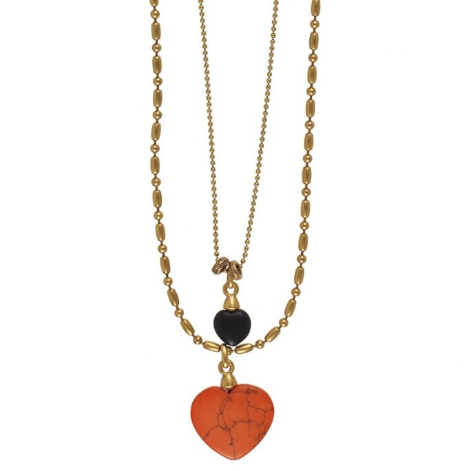 Hultquist Coral & Black Stone Heart Necklace Gold 0551G-B